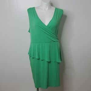 Lane Bryant Green wrap tiered dress